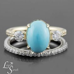 Yellow Gold Turquoise and Diamond Engagement Ring with Diamond Wedding Band - LS3839