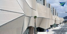 Architectural mesh screening for building facades. TensileSystems.com