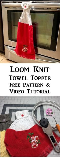 Make a Loom Knit Towel Topper with this free pattern and video from GoodKnit Kisses. Round Loom Knitting, Loom Knitting Stitches, Knifty Knitter, Loom Knitting Projects, Circular Knitting Needles, Sewing Projects, Loom Knitting For Beginners, Sock Knitting, Knitting Tutorials