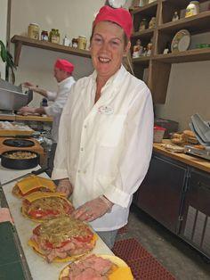 Julia making delicious Roast Beef Paninis! — at Joe Leone's Italian Specialties.