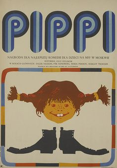Pippi Long Stocking - Vintage Poster - Retro Children's Movie / Pippi  - Polish Film Poster Art