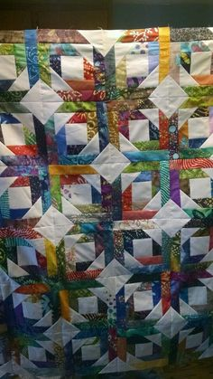"""King size Batik and white pineapple blossom quilt top made with 100% cotton fabrics measures 120"""" x 120"""" ready for your batting backing and quilting. 