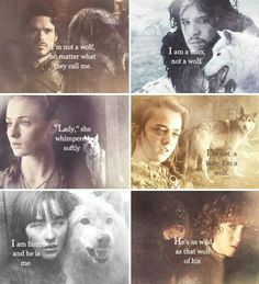 Interesting that Robb and Jon deny being wolves (who try to protect them!) but Bran and Arya accept it.