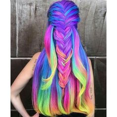 Neon hair color ❤ liked on Polyvore featuring beauty products, haircare and hair color