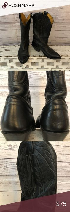 """Nocona """" lantana"""" black Cowboy Boots What a score!!! These Handcrafted boots from Nocona Boot Co Texas are a great find!! Wear to the sole, and minor wear to heel- the leather and  western design are in amazing lustrous condition. Size is XL 5 . Heel measures 1.5 high and 12"""" shaft. Nocona Shoes Heeled Boots"""