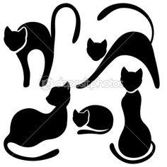 Set of black cat silhouette. — Ilustração vetorial #12727496