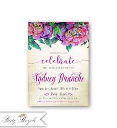 Purple 16th Birthday Invitations for Girls Teenage Sweet