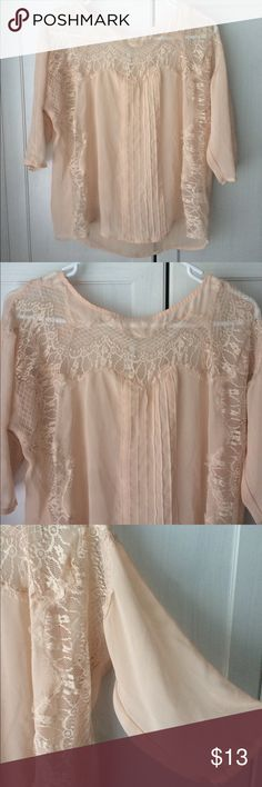 Light Pink Lace Blouse In great condition!  (Tags: Forever 21, Wet seal, Papaya, Charlotte Russe, Nordstrom, Zara, H&M, Old Navy, Sears, Macy's, MOSSIMO Supply Co, Banana Republic, Loft, J-Crew, VS Pink, Tory Burch, Calvin Klein)  Check out my other items :) Let me know if you would like to bundle! Thanks! LC Lauren Conrad Tops Blouses