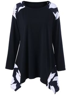 Plus Size Print Asymmetrical Tee in Black | Sammydress.com