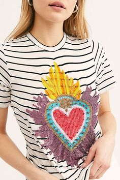 b45284c1b57721 Embellished Remera Tulum Tee - Embellished Tee - Striped and Details Tee  Tulum