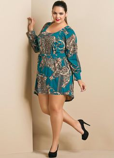 Vestido Estampa de Lenço Mullet Plus Size - Posthaus