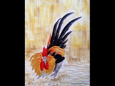 Thread Sketching in Action No 72 - Summer, Time to show off to the ladies! A thread painted rooster shows off his splendid finery in this hand painted, thread embellished fabric art by Deborah Wirsu Textile Artist.