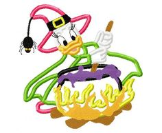 daisy duck witch halloween embroidery applique by findmeonFBplease, $2.75