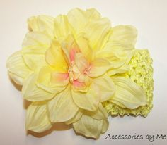 #Summer time Yellow Delilah #Flower Crochet #Headband 2 pc Set - by accessoriesbyme
