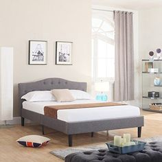 Classic Deluxe Linen Low Profile Platform Bed Frame with Curved Headboard Design and Button Details - Fits Full Mattresses - Grey -- Click image to review more details.