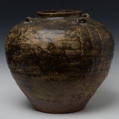 Burmese Brown-Glazed Pottery Jar with Four Earlobes