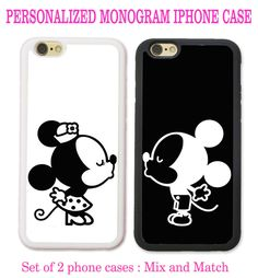 Personalized Black White Mouse Love Couple Kissing 2 Cases For iPhone 6 6S+ 7 7…