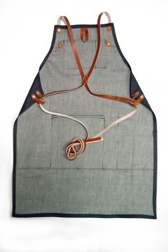 Shop Apron with Cross Back Strap Denim Raw Denim Cone por 1point61