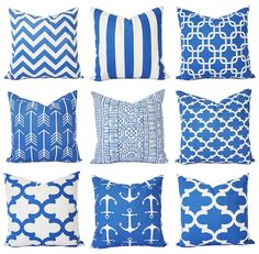 Royal Blue Pillow Covers  Blue Throw Pillows  by CastawayCoveDecor $16 ea