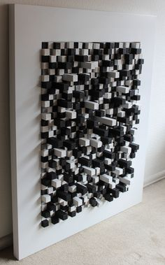 """""""spin blanco y negro"""" construccion de cubos de madera de 2.5cm sobre marco de madera 100cm por 80 cm."""""""