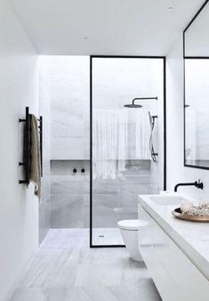 Master Bathroom Design Ideas 2019 and Small Bathroom Design Ideas Plans; Bathroom Layout Design Tool Free only Bathroom Design Dark Floor Light Walls Modern Bathroom Design, Bathroom Interior Design, Bathroom Designs, Bath Design, Shower Designs, Tile Design, Modern Design, Design Design, Contemporary Bathrooms