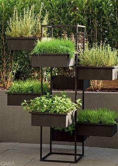 O charme deste jardim vem da Itália Home Vegetable Garden, Fruit Garden, Container Gardening, Gardening Tips, Vertical Garden Design, Garden Shelves, Garden Solutions, Smart Garden, Asian Garden