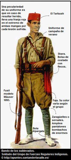 Uniforme de un soldado de las Fuerzas Regulares Indígenas. Public Security, Military Modelling, World War One, Teaching Spanish, Military History, Civilization, Army, Diesel, Google