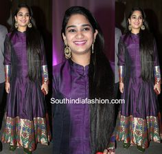 Nymisha Reddy in a silk anarkali suit Sari Dress, Anarkali Dress, Prom Dress, Indian Party Wear, Indian Wedding Outfits, Heavy Dresses, Trendy Dresses, Indian Designer Outfits, Designer Dresses