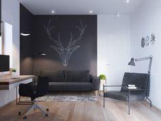 Skandinavisch Einrichten Home Office Schreibtisch Sofa Kreatives Wanddesign