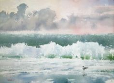 """""""Seascape with Seagull"""" watercolor on paper, 41 x 56, 2014 by Sergey Temerev"""