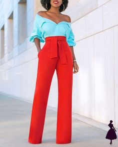 Off Shoulder Color Block Jumpsuit (Style Pantry) Fashion Mode, Work Fashion, Fashion Looks, Womens Fashion, Daily Fashion, Style Fashion, Classy Outfits, Chic Outfits, Fashion Outfits