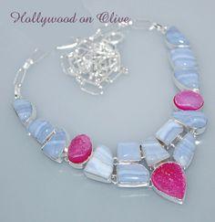 Bubblegum Pink Drusy Blue Lace Agate Necklace