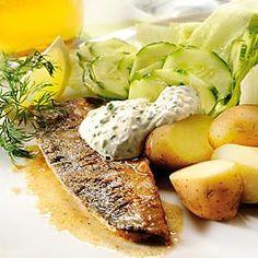Stekt makrill med gräslöksfraiche Chutney, Hummus, Pesto, Baked Potato, Mashed Potatoes, Seafood, Health Fitness, Yummy Food, Fish
