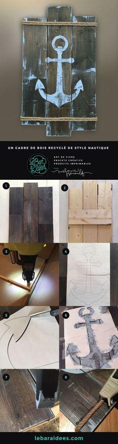 DIY cadre de bois recyclé de style nautique. Nautical recycled wood frame.