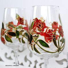 Бокалы, стаканы ручной работы. Ярмарка Мастеров - ручная работа. Купить Набор бокалов для вина. Ручная роспись.. Handmade.