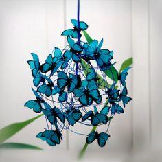 Lampara con mariposas turquesas - Lámparas - Casa - 494623