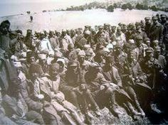 The Labour Battalions (Amele taburlari) or Death Battalions as they were better known. Of the 3000 Greeks in the Labour Battalion of Kydonies (Ayvalik) only 23 survived. Photo; unverified