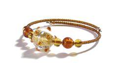Murano Glass Topaz Gold Bangle Bracelet Italian by JKCJewels, $26.00