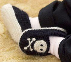 hand-crochet pirate booties