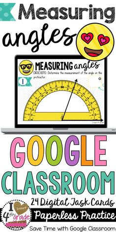 Angles | Google Classroom | 4th Grade Math | Digital Task Cards to use with Google Classroom are a great way to integrate technology into the classroom while engaging student learners. 24 digital task cards to provide practice for identifying angle measurements on a protractor. ($)