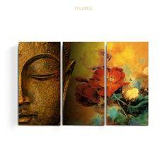 Set De Cuadros Buda - Loto - Zen - Tríptico - Decoración - $ 790,00