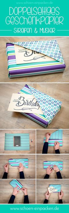 Fold back part paper before u begin wrapping - to leave a slot to hold the card. http://www.schoen-einpacken.de/blog/buch-einpacken/