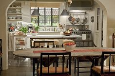 """Kitchen from the movie """"Its Complicated"""".  LOVE it.  I'm personally not a fan of the huge new kitchens we see so much of today with hearth rooms.  I love the size, and its just beautiful with the large windows.  It did have a pantry that would help here for sure!"""