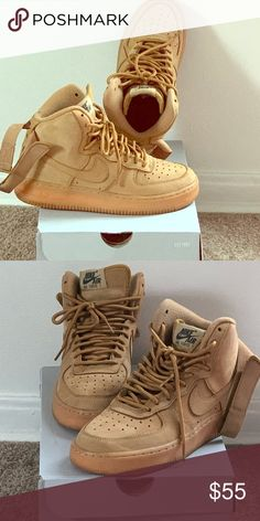 timeless design cb92a 1381a Wheat Nike Air Force one Wheat Nike Air Force ones mid tip with strap Nike  Shoes
