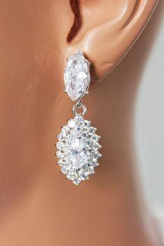 Marquise Clear Cubic Zirconia Wedding Earrings by AuroraJewelryBox, $58.00