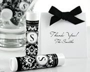 With the allure of luxury and romance, parched lips can't wait to be drenched in the soothing salve of this lip balm. Made of all-organic ingredients, your guests can treat their lips to the very best with this useful, personalized wedding favor. With your initial surrounded with a beautiful damask pattern, your guests will have a little gloss on the go and a lovely remembrance of your wedding. Features and facts:Available in black, hot pink, red and lime green Letters A-Z available Easy…