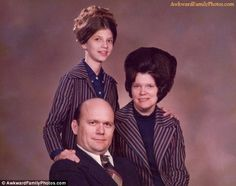 Bald and happy: This family were possibly overcompensating for the father's lack of locks