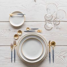 Our NEW Maison Collection in Brushed 24k Gold + Goa Flatware in Brushed 24k Gold/Blue + Chloe 24k Gold Rimmed Stemware + 14k Gold Salt Cellars + Tiny Gold Spoons  #cdpdesignpresentation #