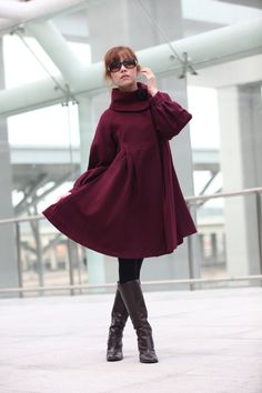 ON SALE Size S Wine RED Coat Cashmere Coat Big Sweep Long Sleeve Wool Winter Coat Jacket for Women - NC200