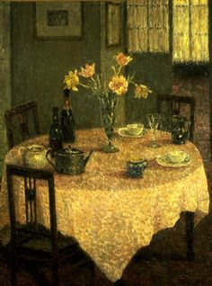 Interior with a Rose ~ Henri Eugène Le Sidaner ~ (French: 1862-1939)